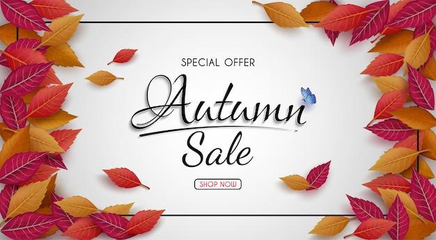 Oferta especial diseño de banner de venta de otoño. con coloridas hojas de otoño estacionales.