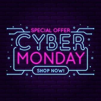 Oferta especial de diseño plano cyber monday neon