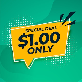 Oferta especial de dólar único y banner de venta.