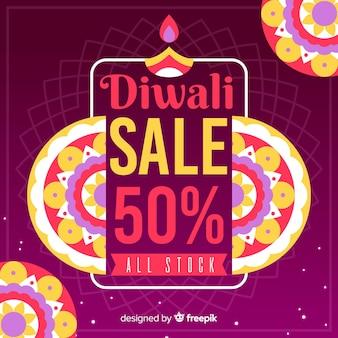 Oferta especial del festival de diwali en banner dibujado a mano