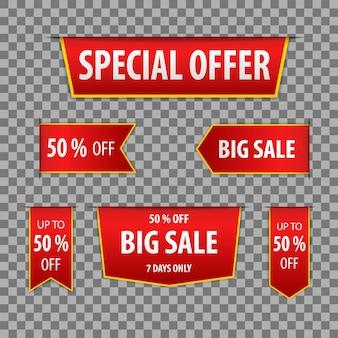 Oferta especial de insignias rojas y gran venta sobre un fondo transparente