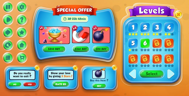 Oferta especial de interfaz de usuario del juego de dibujos animados informal para niños, salir, calificarnos, comprar y menú de selección de niveles emergente