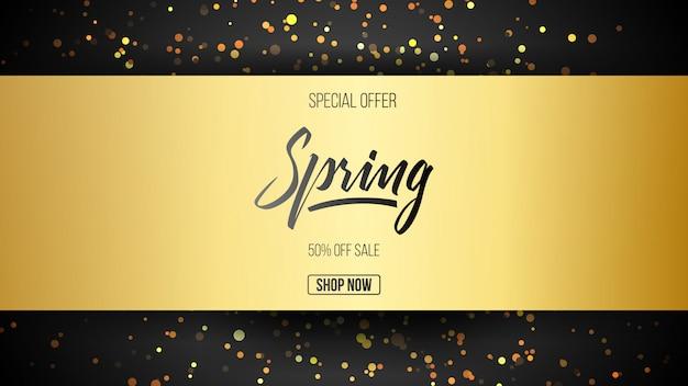 Oferta especial oro primavera venta fondo con letras de mano fuente