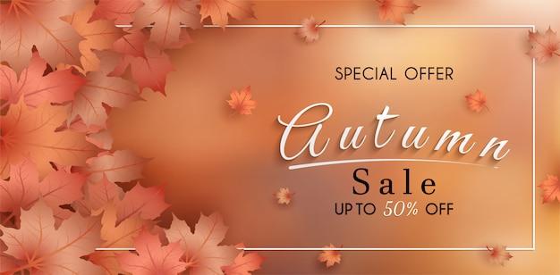 Oferta especial otoño. y diseño de banner de ventas. con coloridas hojas de otoño estacionales.