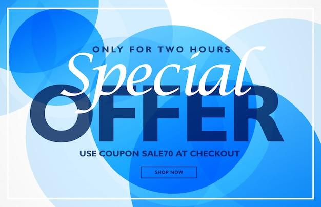 Oferta especial plantilla de diseño de banner con fondo de círculos azules