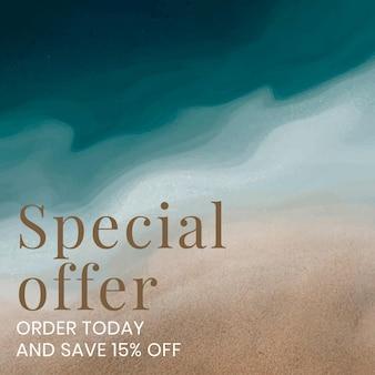 Oferta especial plantilla editable vector océano fondo