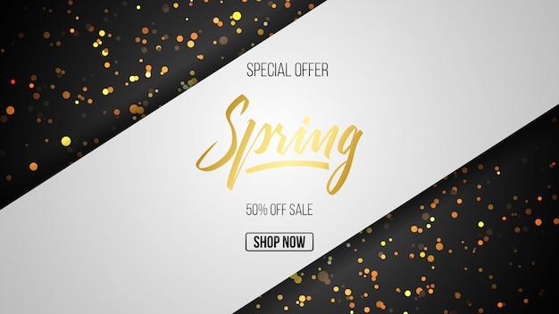 Oferta especial de primavera de lujo en fondo dorado.