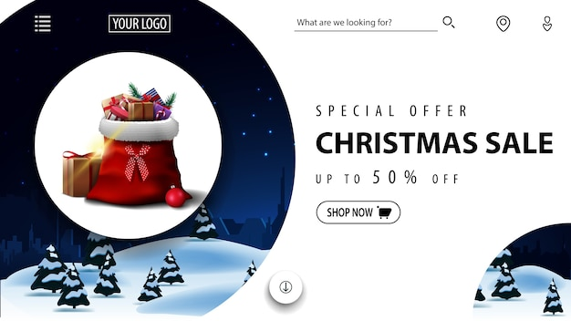 Oferta especial, rebajas navideñas, hasta 50% de descuento, hermoso banner de descuento rojo y azul con paisaje invernal y bolsa de papá noel con regalos