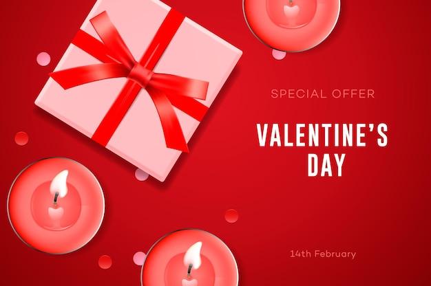 Oferta especial san valentín, caja regalo, velas y confeti.