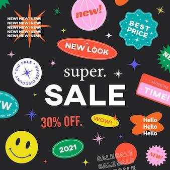Oferta especial super venta banner diseño vectorial. fondo inconformista con etiquetas adhesivas promocionales.