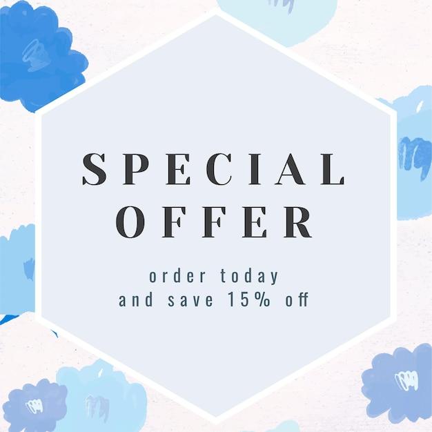 Oferta especial texto promoción marco floral vector