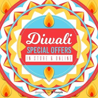 Oferta especial de vacaciones de diwali en banner dibujado a mano