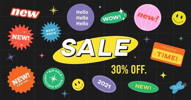 Oferta especial venta banner diseño vectorial. fondo inconformista con etiquetas adhesivas promocionales.