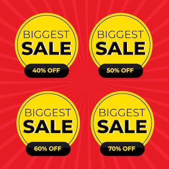 Oferta especial de venta y conjunto de etiquetas de precios