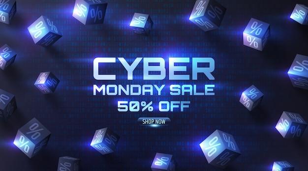 Oferta especial de venta cyber monday póster con d cubos negros de porcentajes en la oscuridad del fondo del código binario