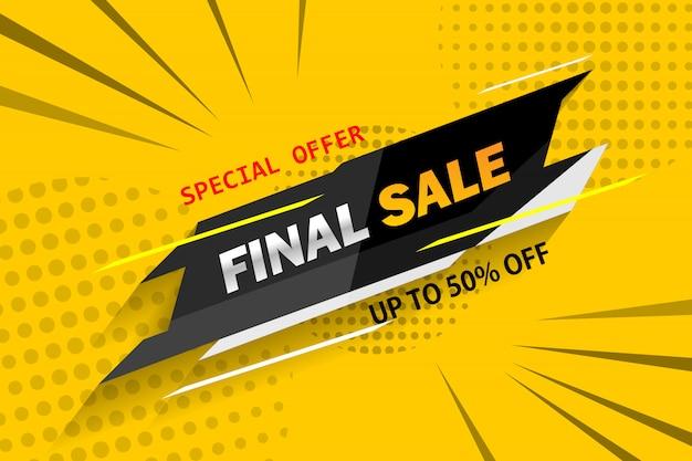 Oferta especial venta final banner geométrico con sombra sobre fondo amarillo.