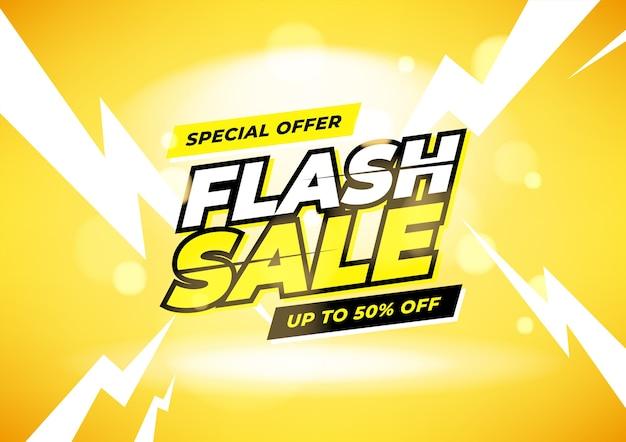 Oferta especial de venta flash hasta un 50% de descuento en banner.