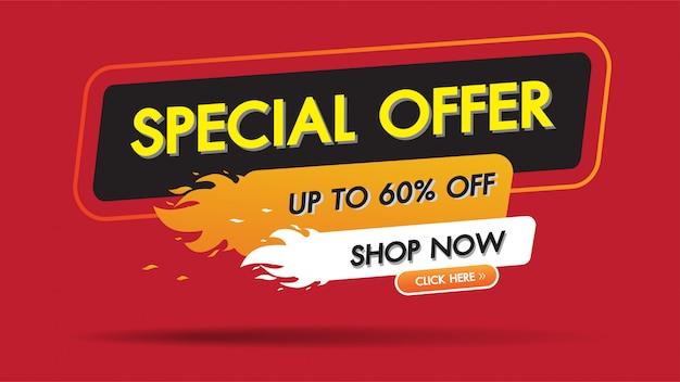 Oferta especial venta fuego quemar plantilla descuento banner promoción