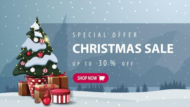 Oferta especial, venta de navidad, hasta 30% de descuento en pancarta de descuento con botón rosa