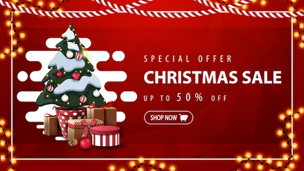 Oferta especial, venta de navidad, hasta 50% de descuento, banner de descuento rojo con forma líquida abstracta