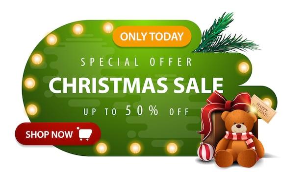 Oferta especial, venta de navidad, hasta 50% de descuento, banner de descuento verde en formas líquidas abstractas