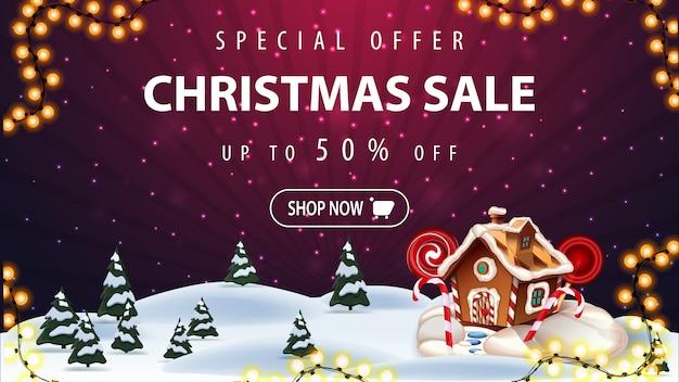 Oferta especial, venta de navidad, hasta 50% de descuento
