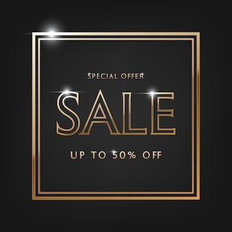 Oferta especial venta, texto dorado. venta de letras vectoriales de oro sobre fondo negro.