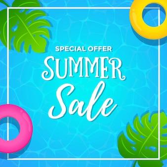 Oferta especial venta de verano con fondo de piscina