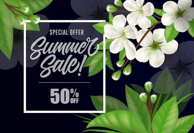 Oferta especial verano venta cincuenta por ciento de letras.