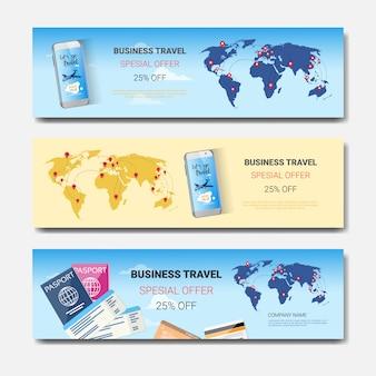 Oferta especial de viaje de negocios conjunto de plantillas banners horizontales