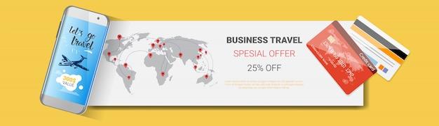Oferta especial de viajes de negocios cartel de la compañía de turismo plantilla banner horizontal