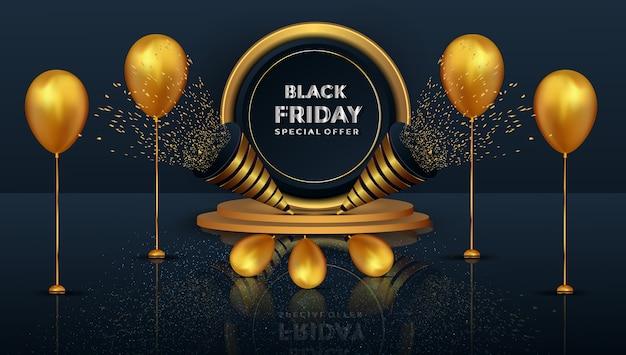 Oferta especial de viernes negro realista con podio dorado.