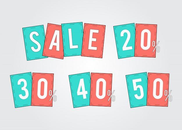 Oferta etiquetas promoción porcentaje de descuento 20, 30, 40, 50 set