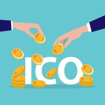 Oferta inicial de monedas, ico, empresa. concepto de recaudación de fondos.