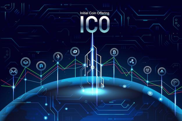 Oferta inicial de monedas ico. promoción con signos de monedas, gráfico, invertir en otra moneda.