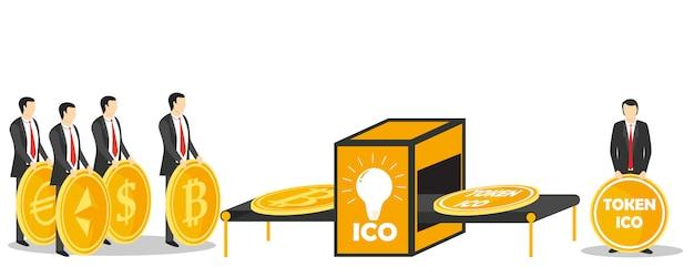Oferta inicial de monedas o concepto de intercambio de fichas ico
