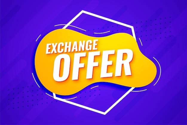 Oferta de intercambio moderno diseño de banner comercial.