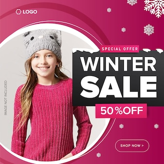 Oferta de invierno 50% de descuento en plantilla de banner