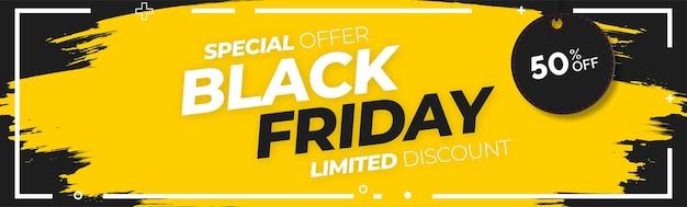 Oferta limitada de black friday con fondo de pincel amarillo