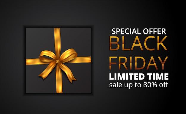 Oferta limitada de venta de viernes negro con ilustración de presente con cinta dorada