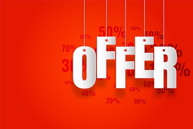 Oferta y ofertas banner sobre fondo rojo.