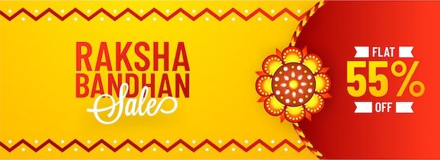 Oferta plana del 55% de descuento para el banner de venta de raksha bandhan.