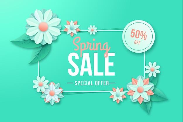 Oferta de primavera colorida en banner de estilo de papel