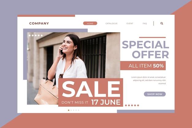 Oferta de producto especial página de inicio de moda