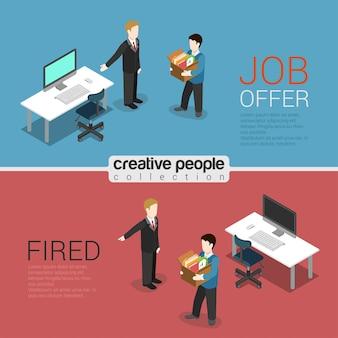 Oferta de trabajo de recursos humanos y despido 3d