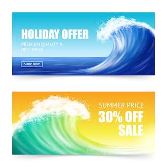 Oferta de vacaciones y pancartas big wave
