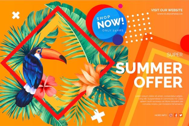 Oferta de venta moderna banner con elementos tropicales