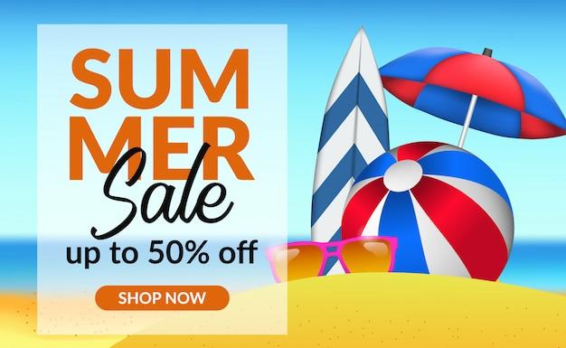 Oferta de venta de vacaciones de verano con ilustración de paisaje de playa