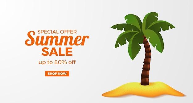 Oferta de venta de verano promoción de banner con palmera de coco 3d en la isla de la playa de arena