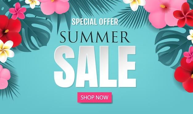 Oferta de verano con borde tropical fondo azul con malla de degradado, ilustración